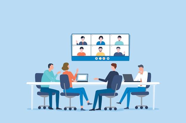 オンラインでのグループビジネスチームビデオ会議会議