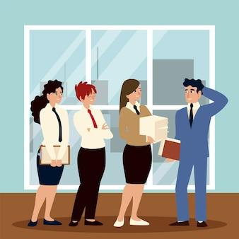 사무실 그림에서 일하는 그룹 비즈니스 여성과 남자 캐릭터