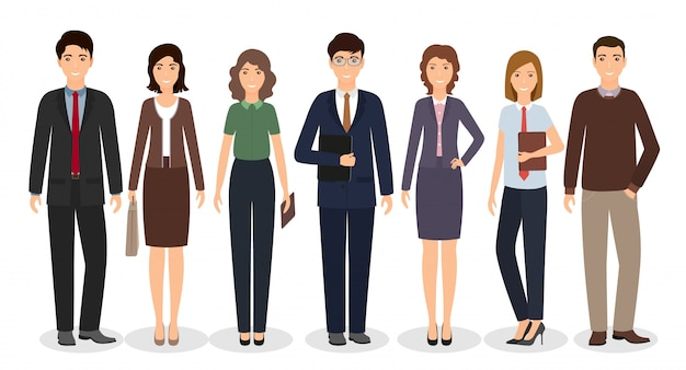 Group of business working people standing together on white background. office employee in different poses.