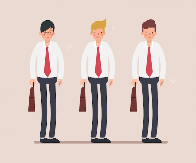 Group of businessman character standing.