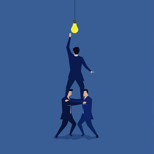 Group of businessman shouldered to reach the idea.
