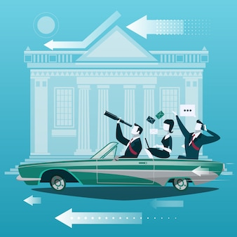 Group of businessman travel by car with stock market exchange building on background