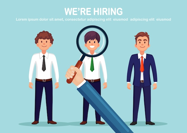 Group of businessman with magnifying glass isolated on background. hiring of candidate. surprised happy man. job interview, recruitment, search employer. human resource hr. cartoon design