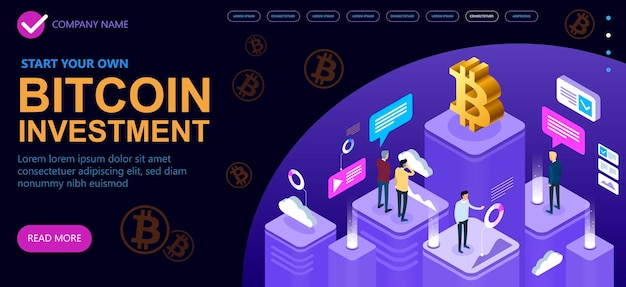 Group of businessmen discuss mining bitcoins, bitcoin cryptocurrency isometric concept, isometric vector concept banner, vector illustration