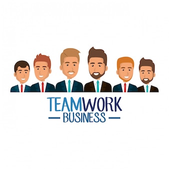Group of businessmen teamwork illustration