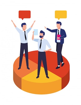Group of businessmen teamwork in statistics pie characters illustration
