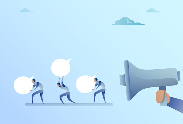 Group of businesspeople hold chat bubble from business man boss hand with megaphone