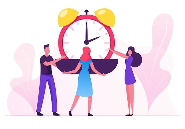 Group of businesspeople put huge alarm clock on scalepan. cartoon flat illustration