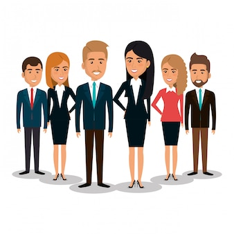 Group of businesspeople teamwork illustration
