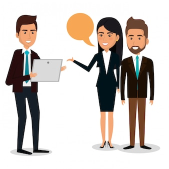 Group of businesspeople with speech bubble teamwork illustration