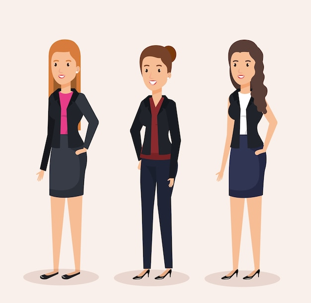 Group businesswomen avatars characters