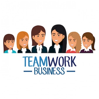 Group of businesswomen teamwork illustration