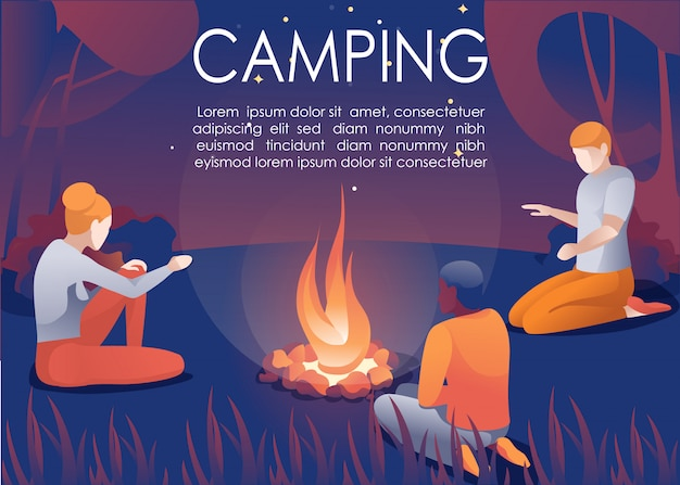 Group camping in forest at night invitation poster