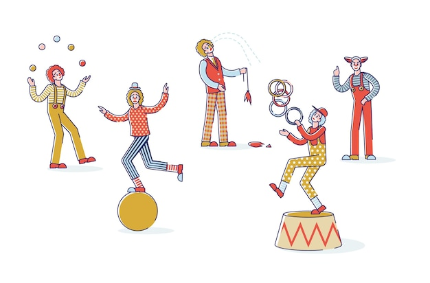 Group of cartoon clowns on white background funny circus characters