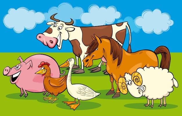 Group of cartoon farm animals
