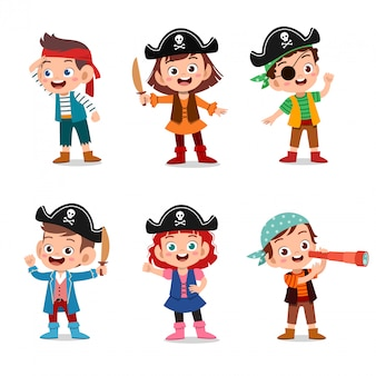 Group of cartoon pirates on a ship at the sea Premium Vector