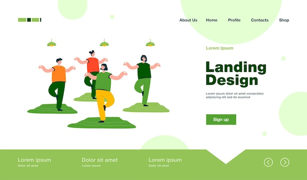 Group of cartoon women practicing yoga in gym landing page in flat style