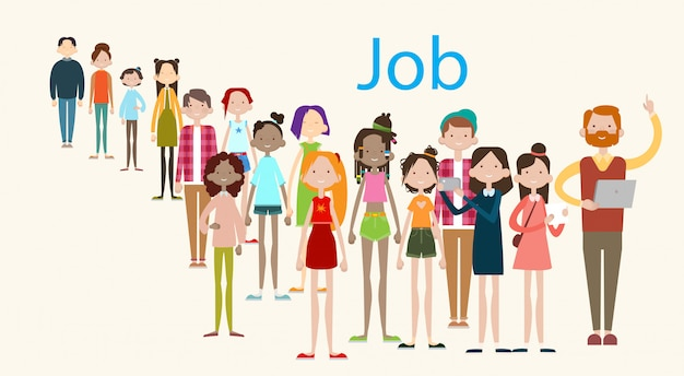 Group casual people crowd ethnic mix race businesspeople search job umployment