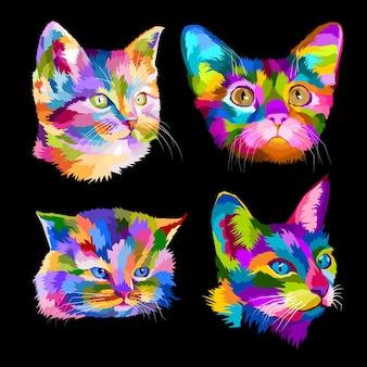 그룹 고양이 연인 가까이 팝 아트 초상화