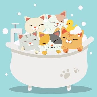 The group of character cute cats taking a bath with bathtub they look very happy