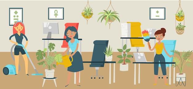 グループキャラクターオフィスクリーニングサービス、女性洗浄ビジネスワークスペース、漫画イラストを片付けるコンセプトバナー。