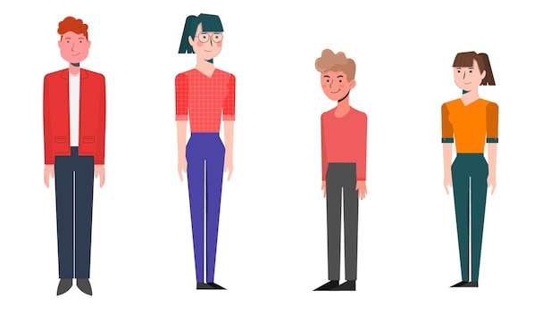 Group of characters isolated vector illustration