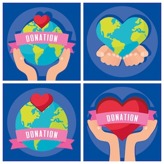 Group of charity donation set icons