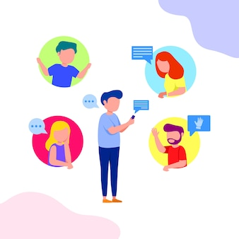 Group chat illustration young people illustration