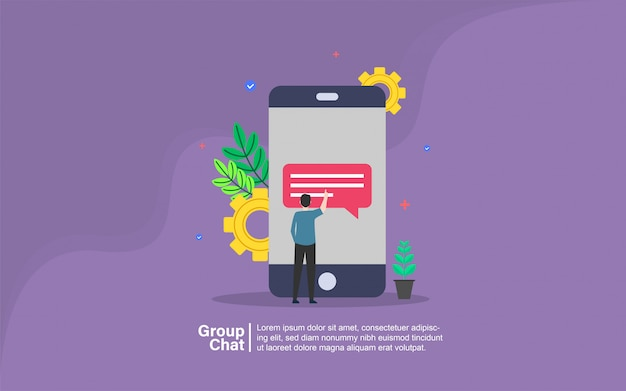 Group chat with people character banner
