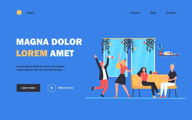 Group of cheerful students or happy friends dancing and having fun at home party in apartment.  illustration for night activity, leisure, celebration, birthday concept landing page