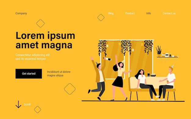 Gruppo di studenti allegri o amici felici che ballano e si divertono a casa festa nella pagina di destinazione dell'appartamento in stile piatto