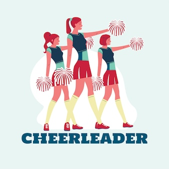 Group of cheerleaders in action  premium