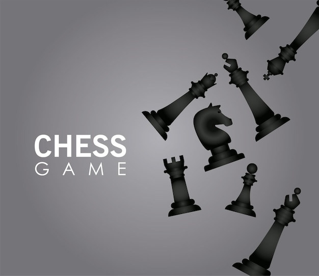Group of chess black pieces set vector illustration design