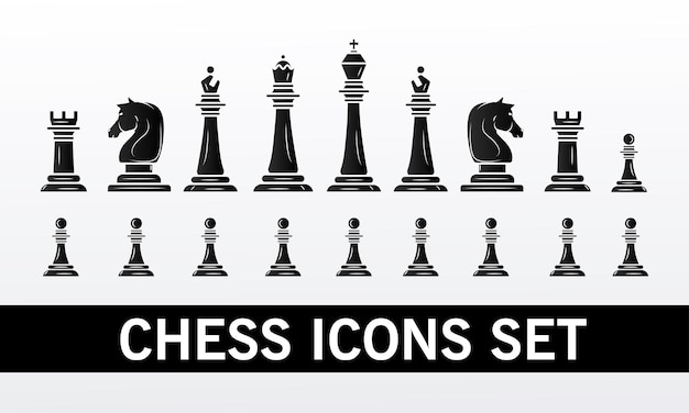 Group of chess pieces set icons