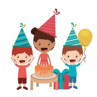 Group of children in birthday celebration avatar character