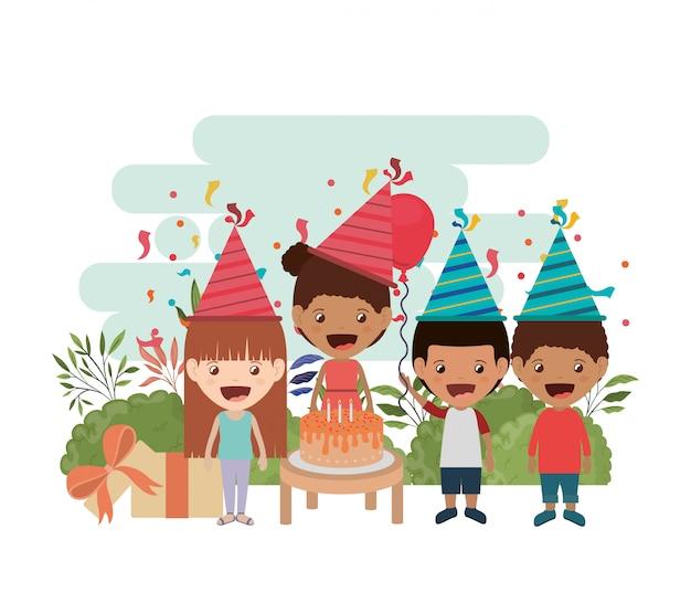 Group of children in birthday celebration