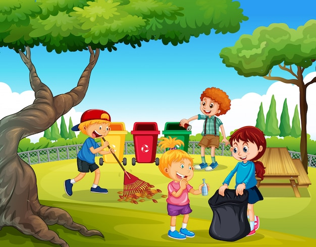 A group of children cleaning garden