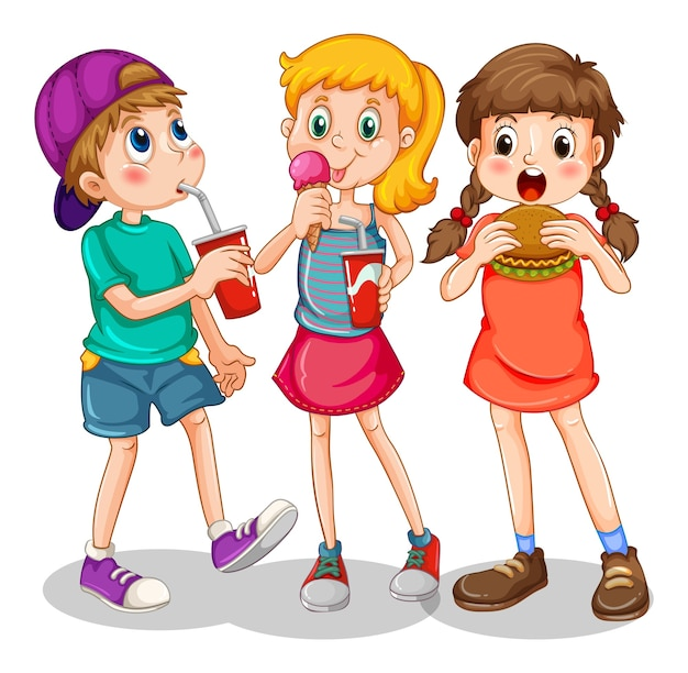 Group of children eating fast food
