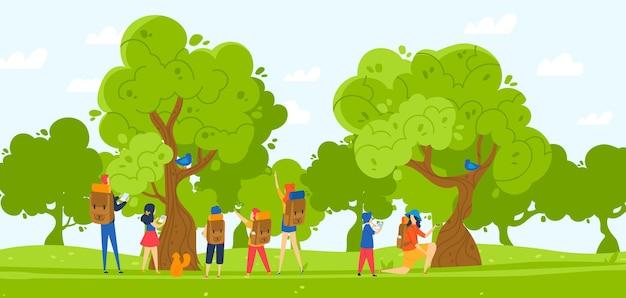Group of children hiking in park illustration.