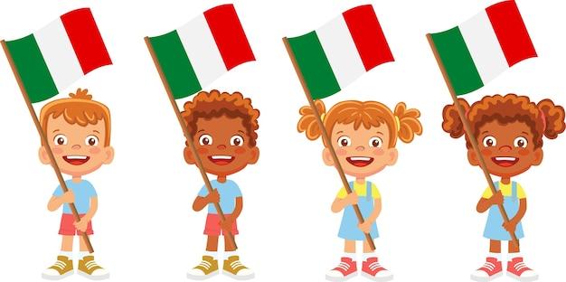 Group of children holding their national flag illustration