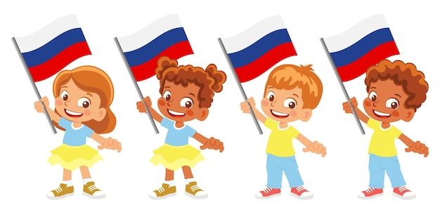 Group of children holding their national flag illustration