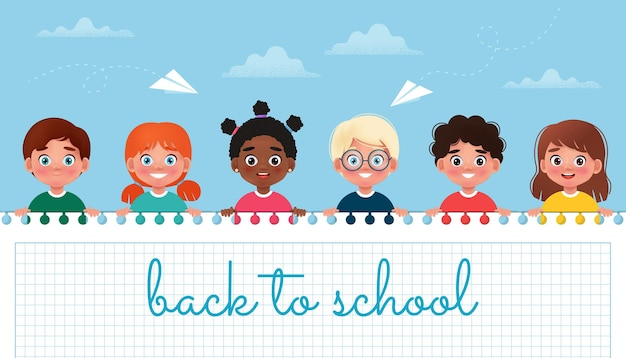 Group of children holding white blank back to school banner vector illustration in cartoon style