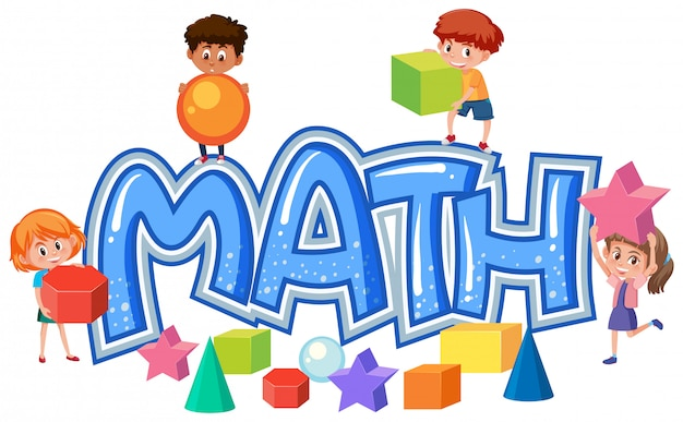 Group of children on math lettering