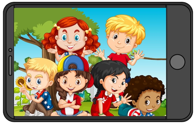Group of children on smartphone screen