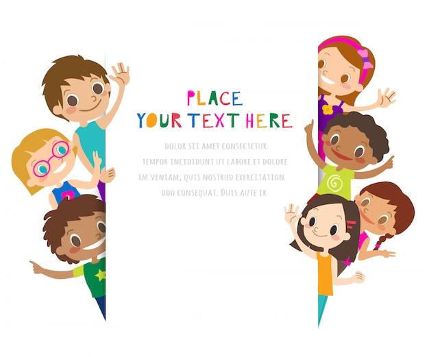 Group of children waving their hands. text block template