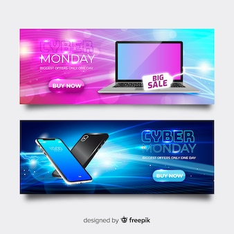 Group of ciber monday realistic banners