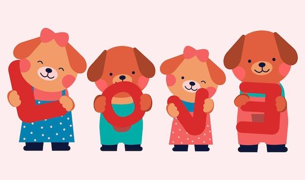 Gruppo di cani adorabili colorati con lettere d'amore