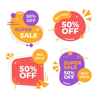 Group of colorful sales banners collection