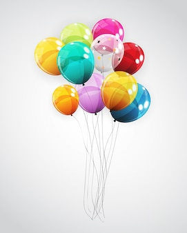 Group of colour glossy helium balloons background. set of  balloons for birthday, anniversary