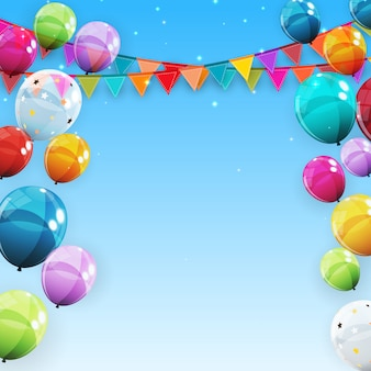 Group of colour glossy helium balloons background